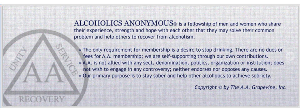 Alcohholics Anonymous Preamble
